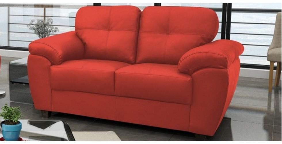 Capri 3 2 Seater Red Leather Sofa