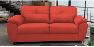 Capri 3 Seater Red Leather Sofa