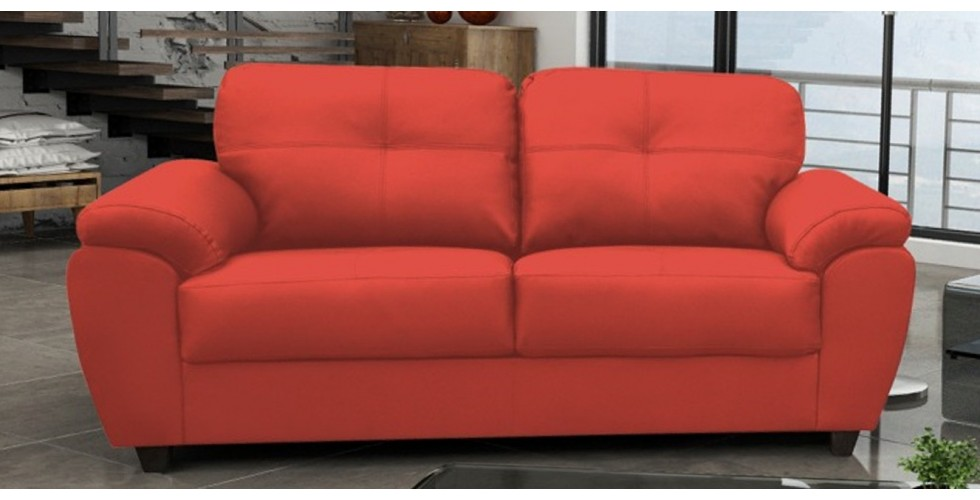 Capri 3+2 Seater Red Leather Sofa