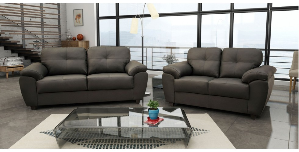 Capri 3+2 Seater Grey Leather Sofa