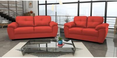 Capri 3+2 Seater Red Leather Sofa