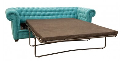 Chesterfield 2 Seater Sofa Bed Ocean Blue