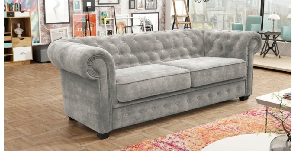Chesterfield 3 Seater Silver