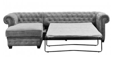 Chesterfield Corner Sofa Bed LHC Graphite