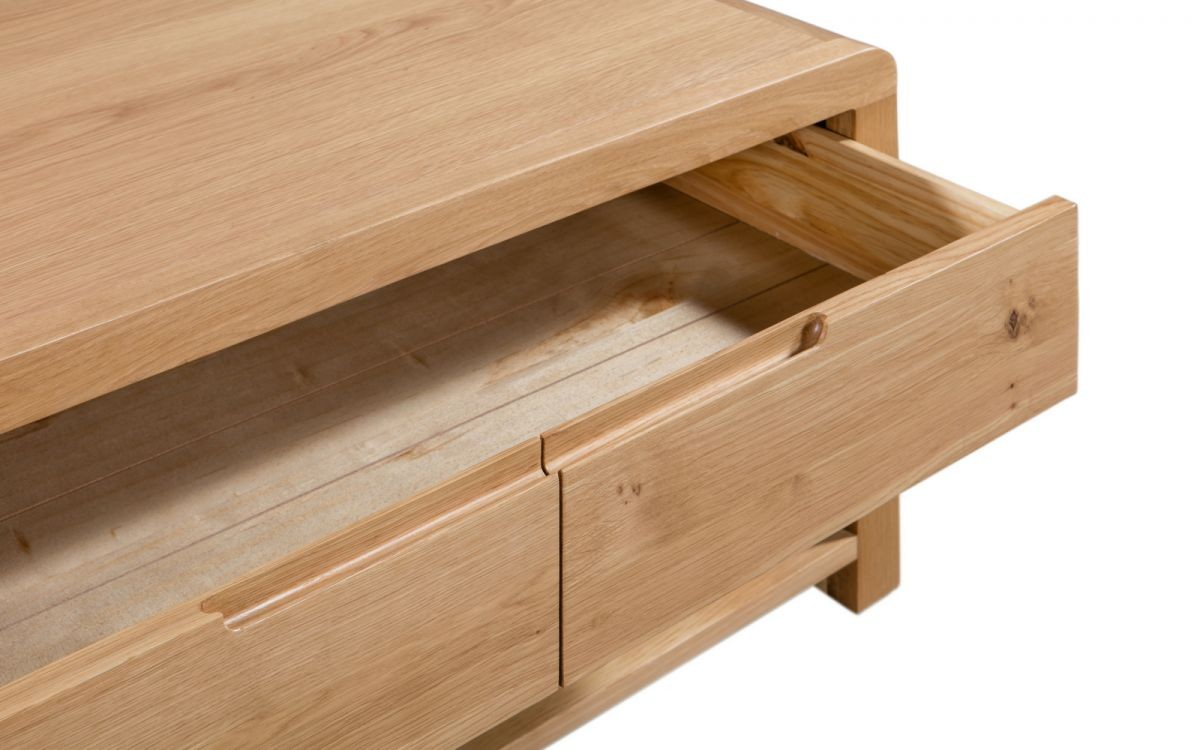 Curve Oak Natural Lacquered Coffee Table with Large Drawer
