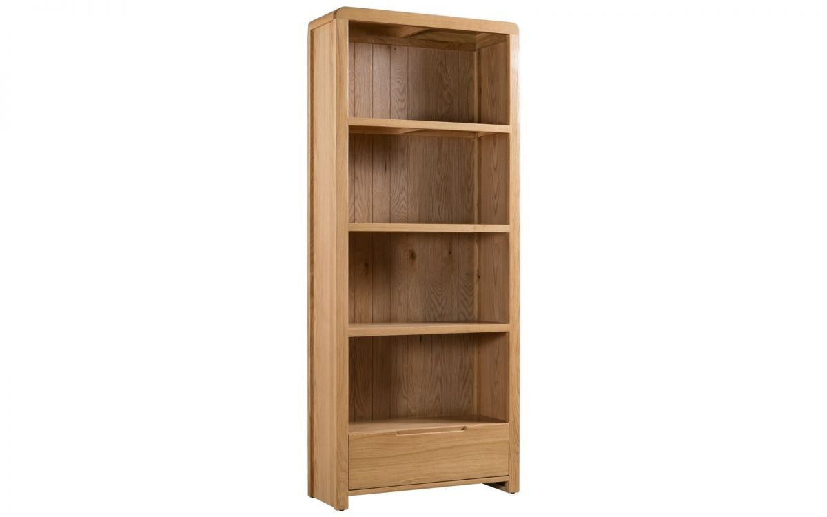 Curve Oak Natural Lacquered Tall Bookcase with Drawer