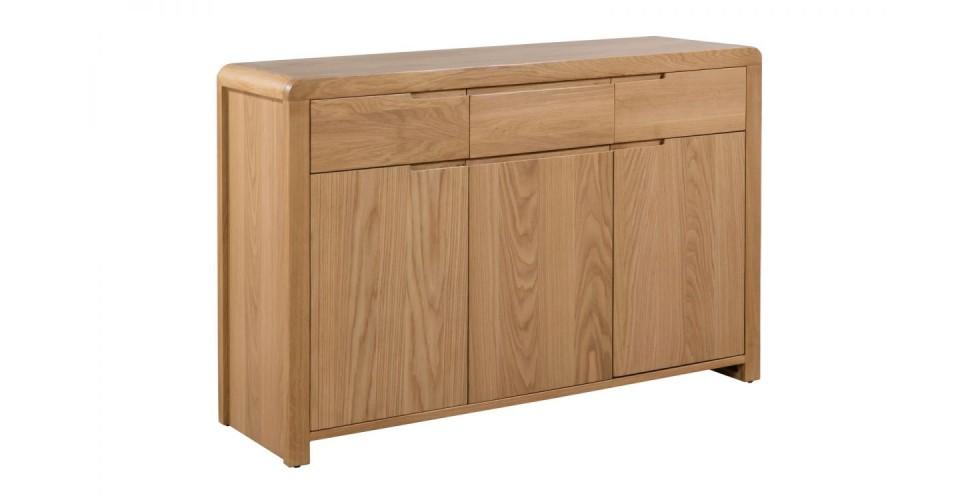 Curve Oak Natural Lacquered 3 Door 3 Drawer Sideboard
