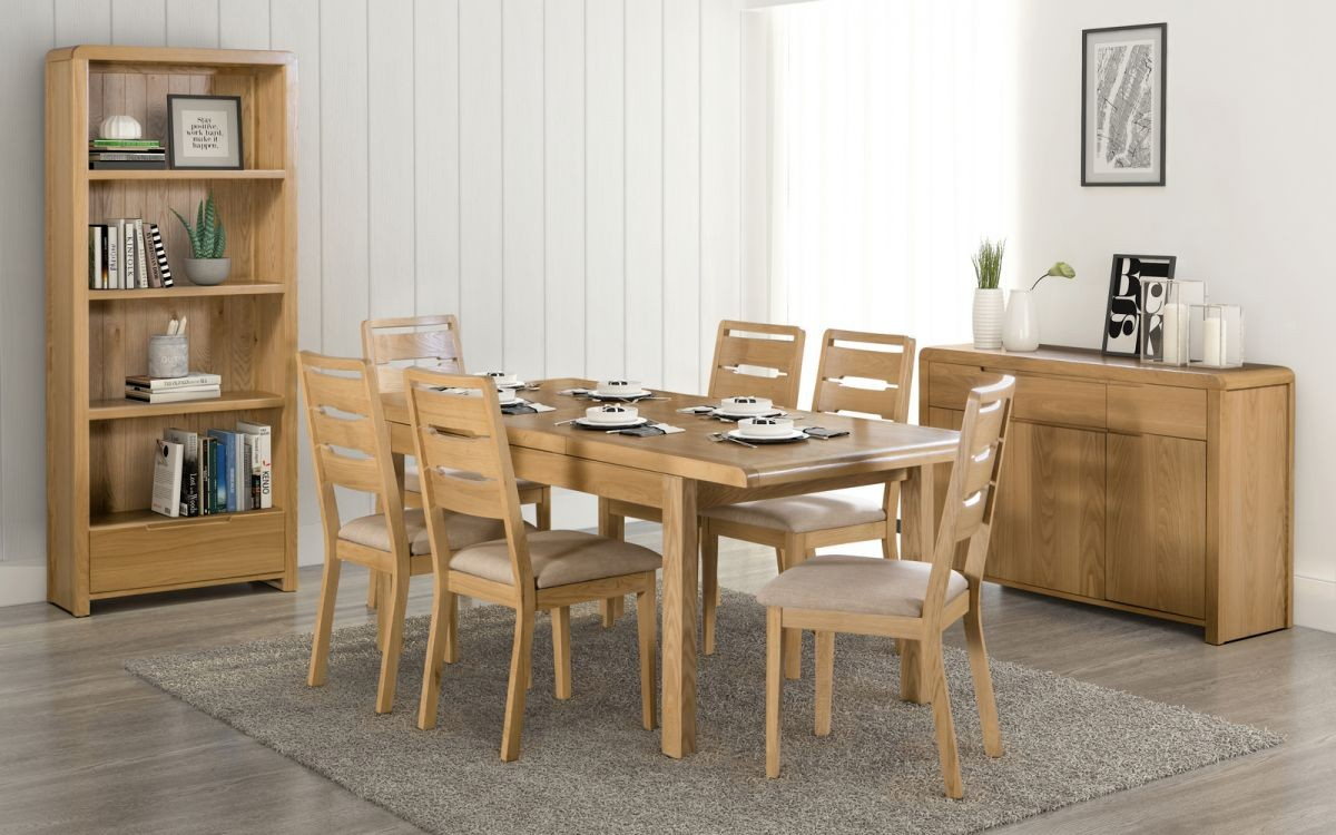Curve Oak Natural Lacquered Extending Dining Table + 4 Chairs Set