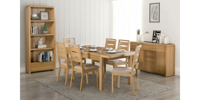 Curve Oak Natural Lacquered Extending Dining Table + 6 Chairs Set