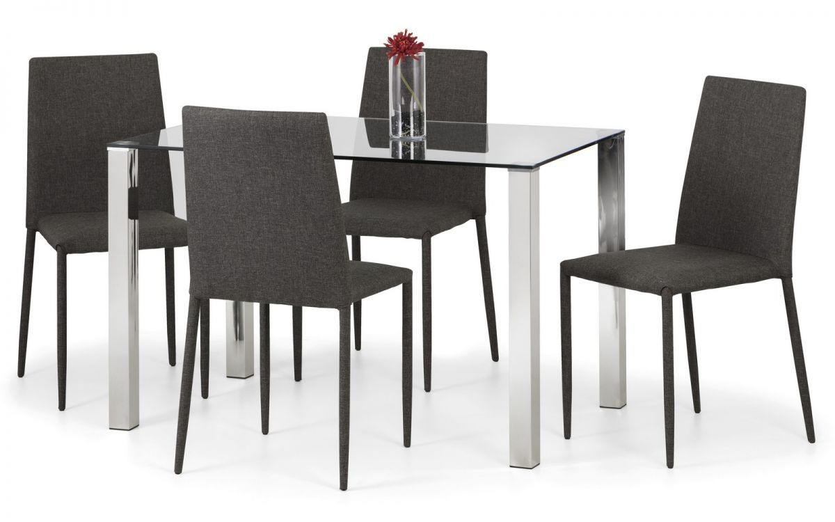 Enzo Chrome & Glass Compact Dining Table + 4 Jazz Slate Grey Chairs Set