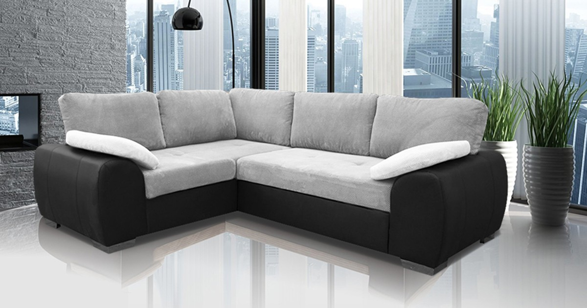 Madrid 1CR2 Left Corner Sofa Bed Black and Silver
