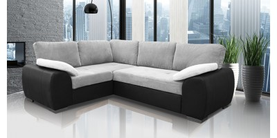 Madrid 1CR2 Left Corner Sofa Bed Black and Silver