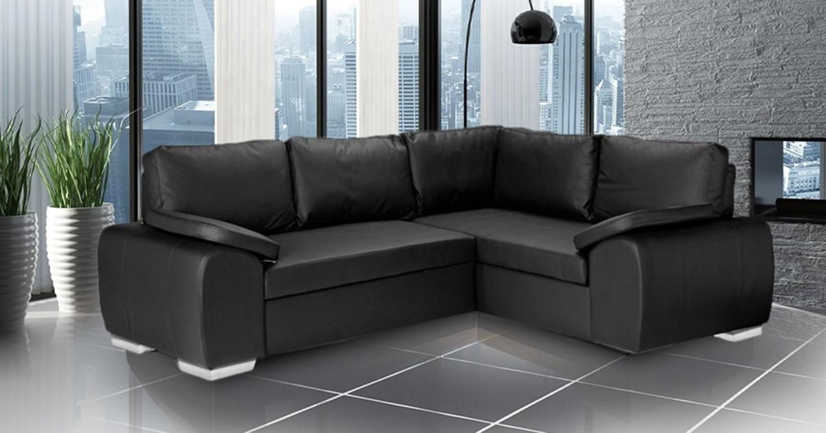 Madrid 2CR1 Right Corner Sofa Bed Black PU