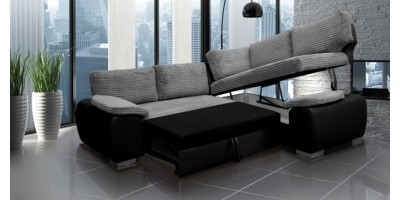 Madrid 2CR1 Right Corner Sofa Bed Black and Grey