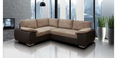 Madrid 1CR2 Left Corner Sofa Bed Brown
