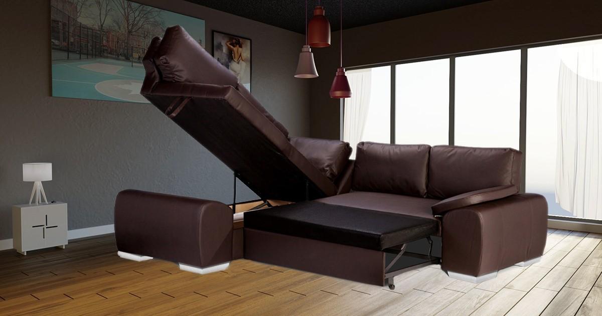 Madrid 1CR2 Left Corner Sofa Bed Brown PU