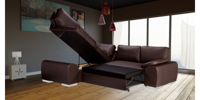 Madrid 1CR2 Left Corner Sofa Bed Brown PU