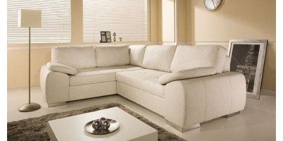 Madrid 1CR2 Left Corner Sofa Bed Cream PU