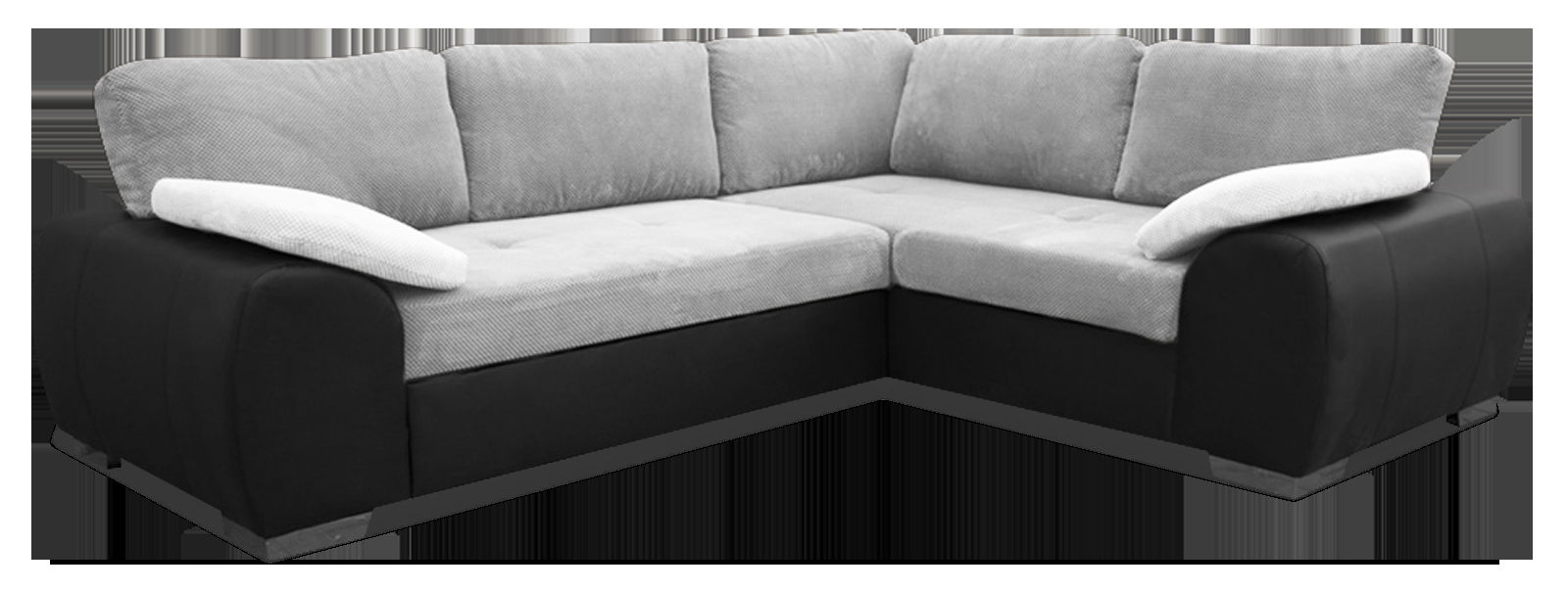 Madrid 2CR1 Right Corner Sofa Bed Black and Silver PU