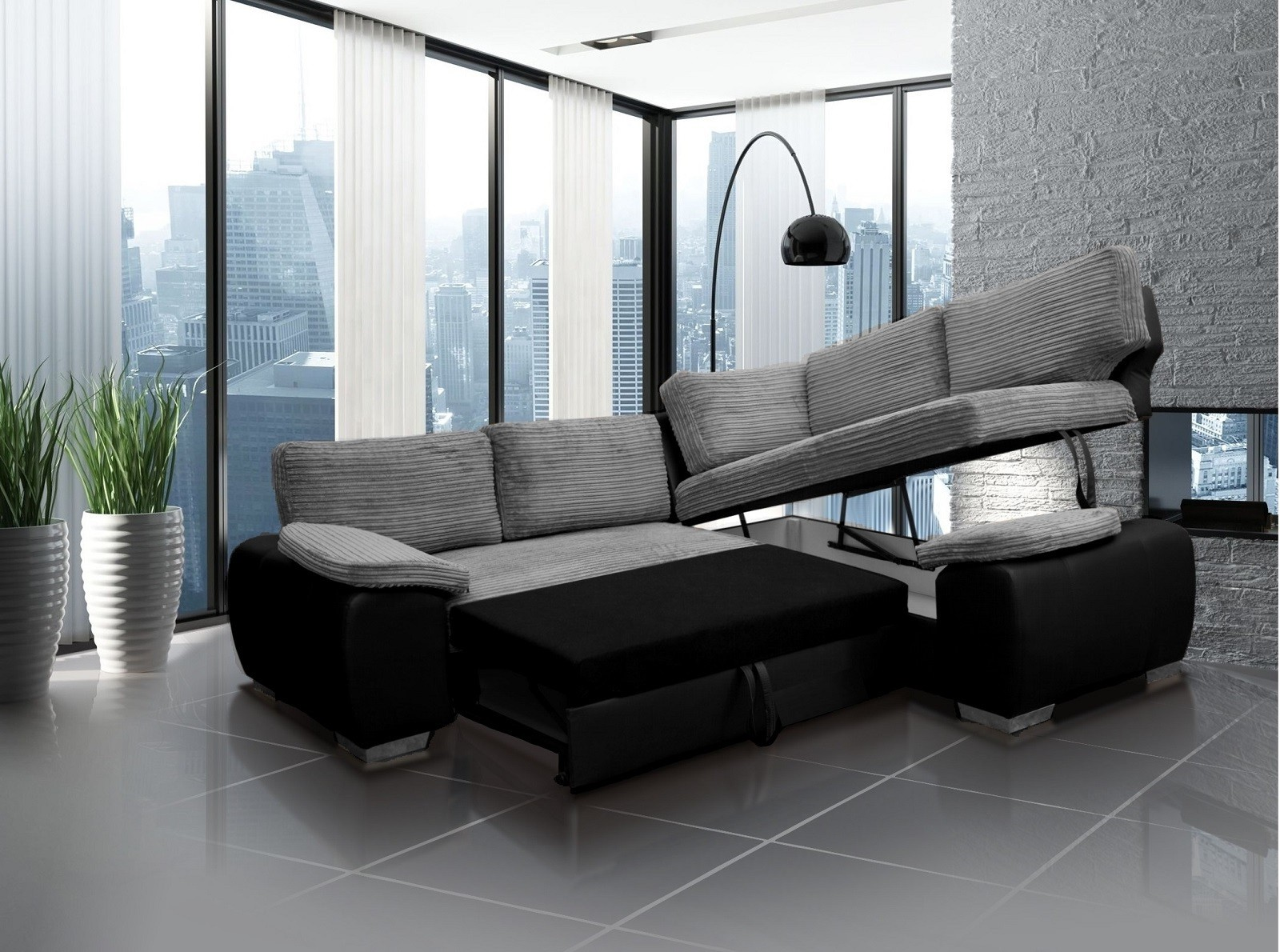 Madrid 2CR1 Right Corner Sofa Bed Black and Silver