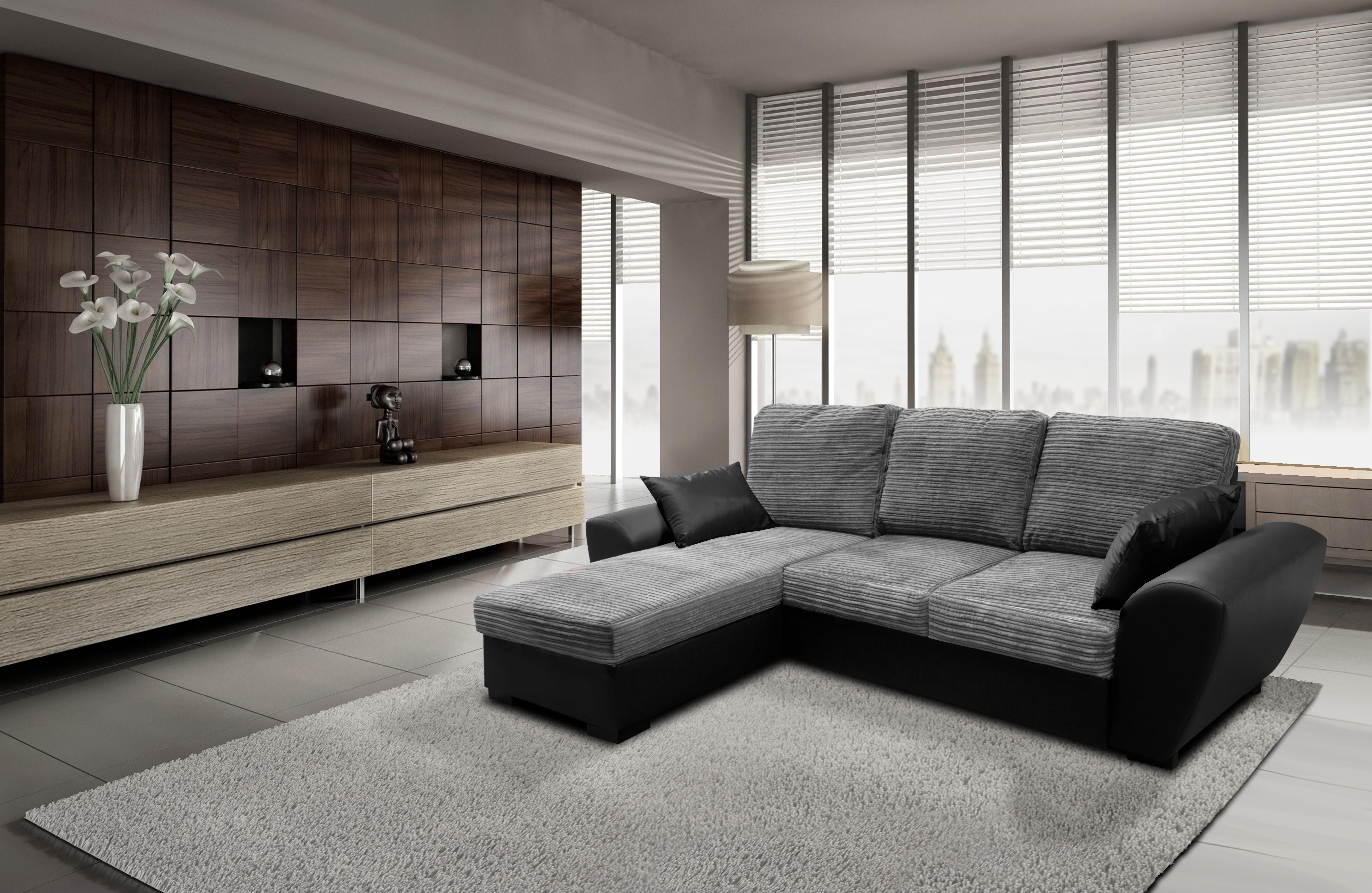 Monza Left Corner Sofa Bed Black and Grey