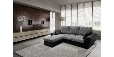 Monza Left Corner Sofa Bed Black and Grey