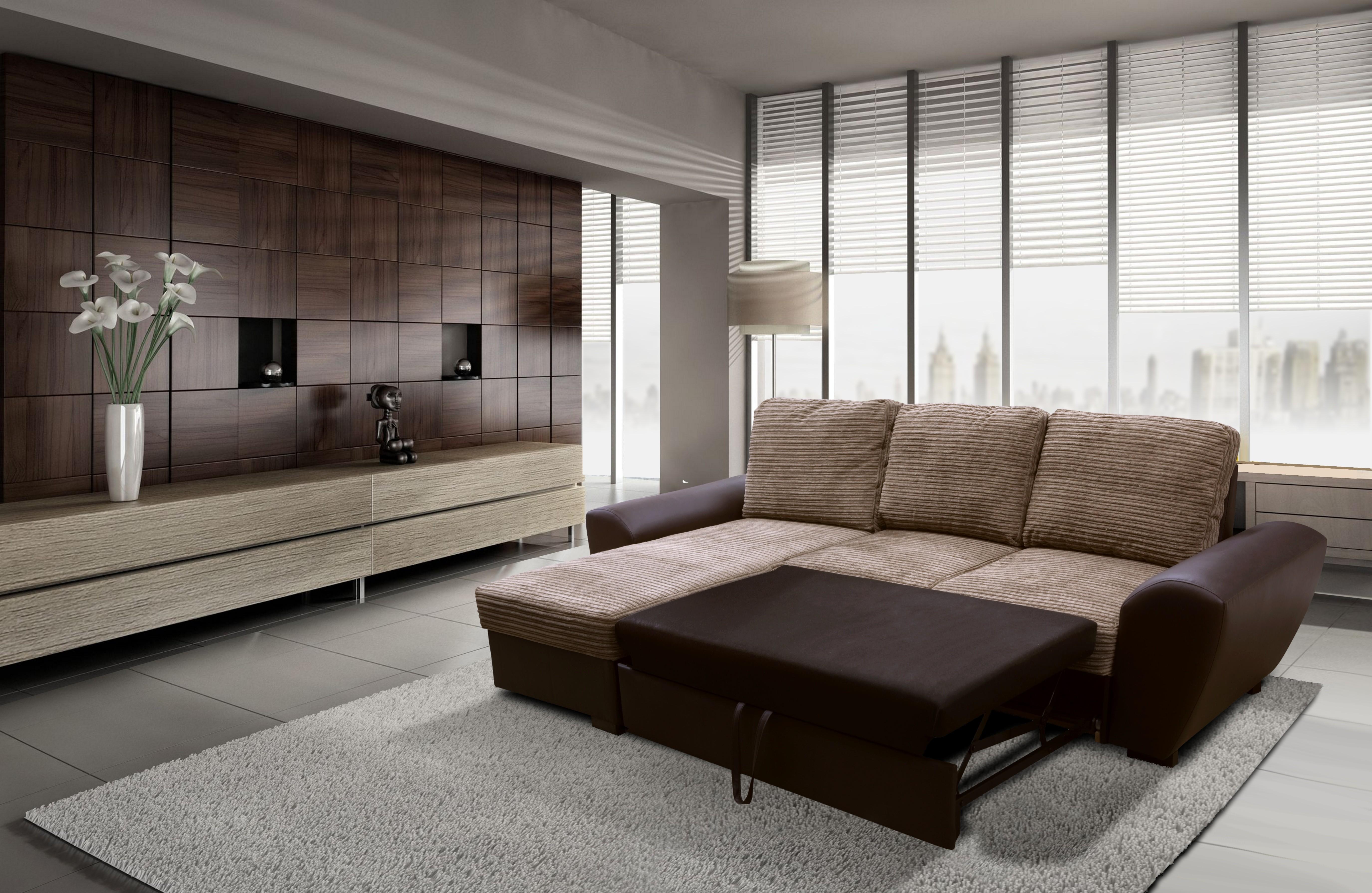 Monza Left Corner Sofa Bed Brown
