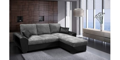 Monza Right Corner Sofa Bed Black and Grey