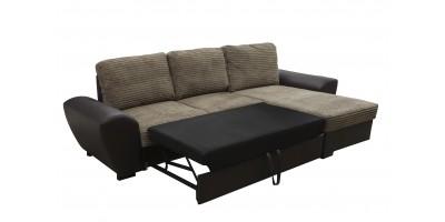 Monza Right Corner Sofa Bed Brown
