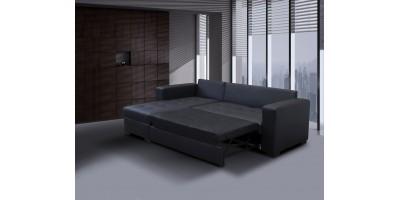 Monza II Left Corner Sofa Bed Black PU