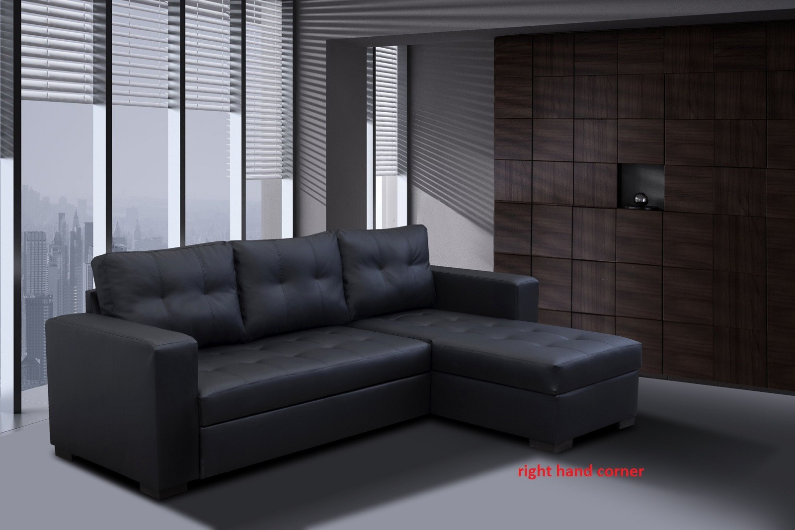 Monza II Right Corner Sofa Bed Black PU