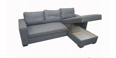 Monza II Right Corner Sofa Bed Grey PU