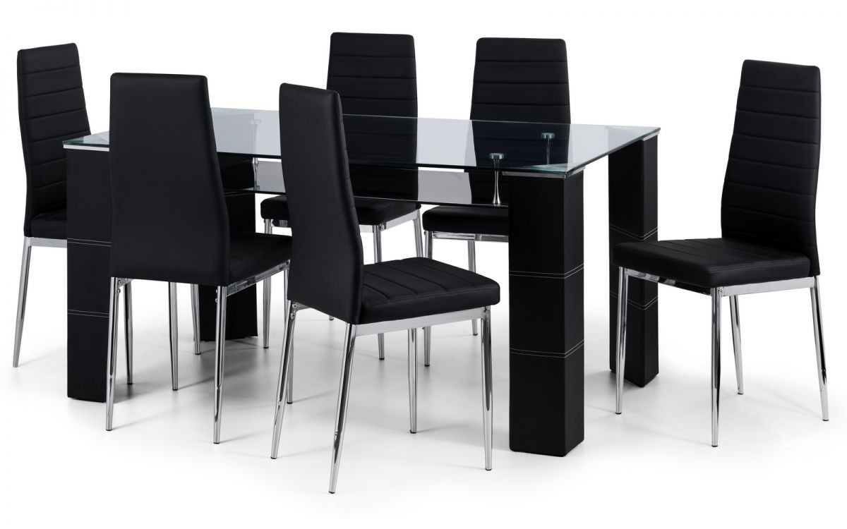 Greenwich Glass Dining Table + 4 Chairs Set