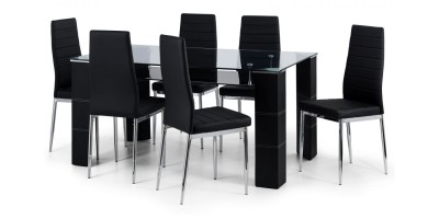 Greenwich Glass Dining Table + 6 Chairs Set