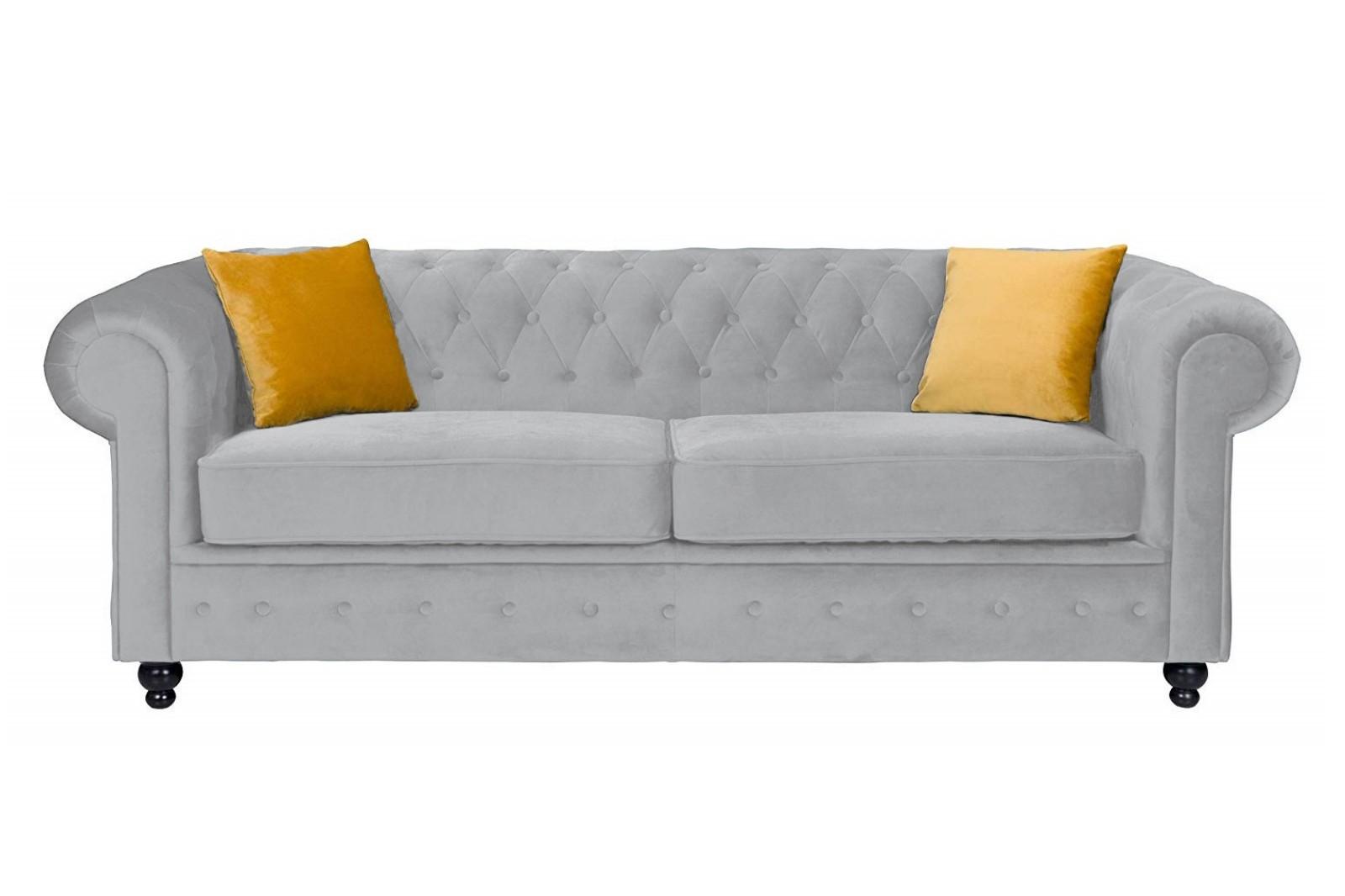 Newport 3 Seater Sofa Silver Plush