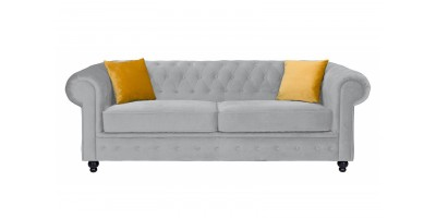 Newport 3 Seater Sofa Silver Plush