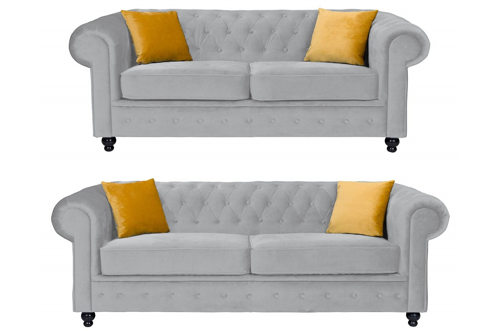 Newport 3+2 Seater Sofa Silver Plush