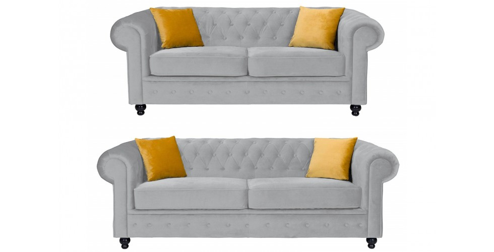 Newport 3+2 Seater Sofa Silver Plush