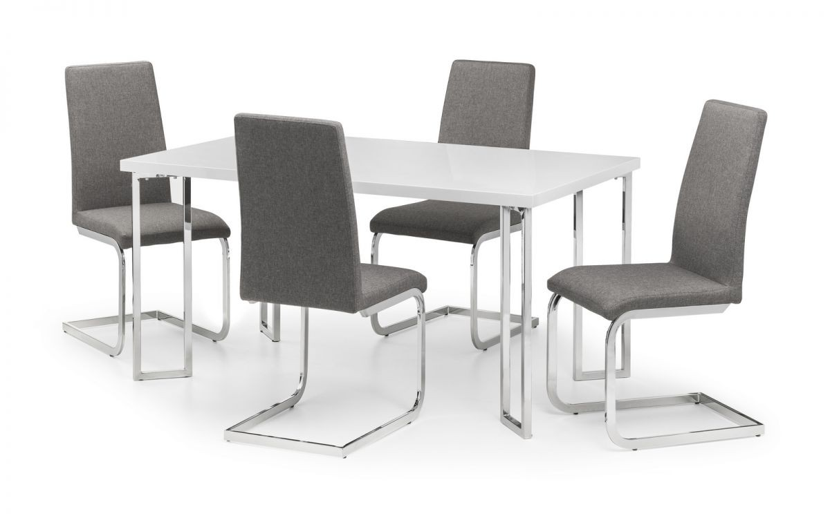 Manhattan White High Gloss Dining Table + 4 Roma Chairs Set