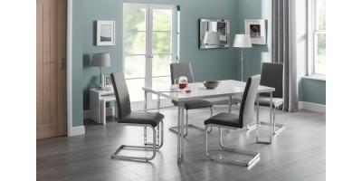 Manhattan White High Gloss Dining Table + 4 Roma Chairs Set