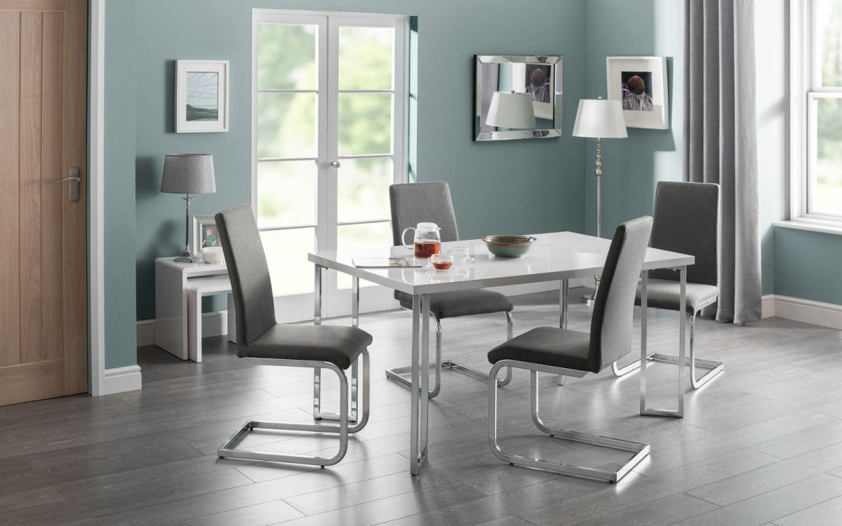 Manhattan White High Gloss Dining Table + 6 Roma Chairs Set