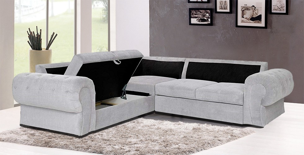 Knightbridge Corner Sofa Bed Silver