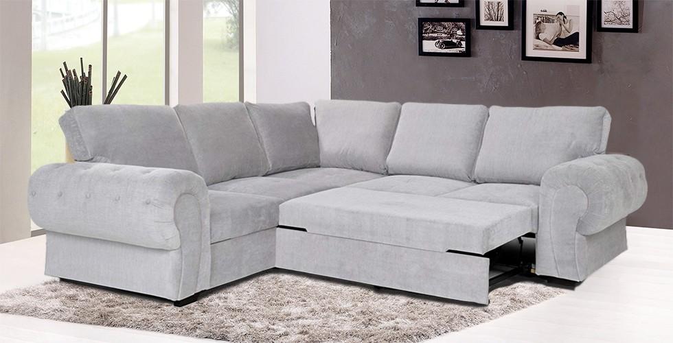Knightbridge Full Corner Sofa Bed Silver