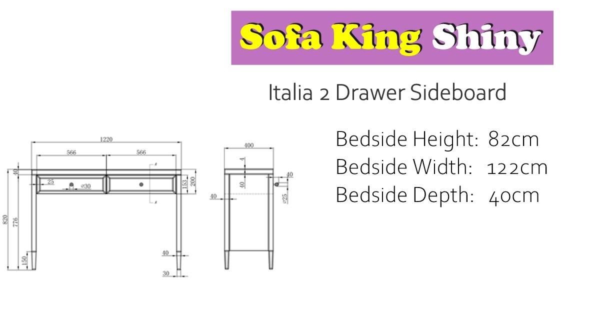 Italia 2 Drawer Sideboard