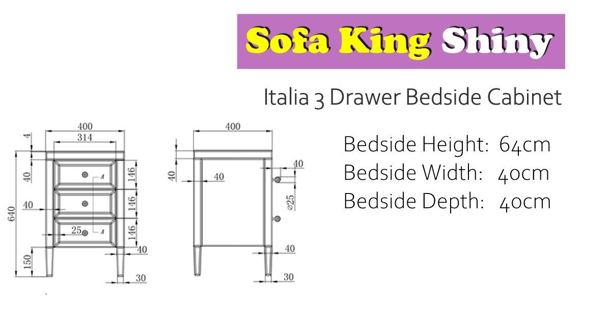 Italia 3 Drawer Bedside Cabinet