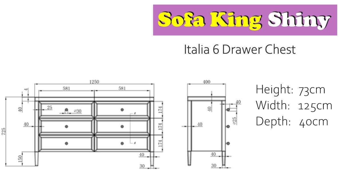 Italia 6 Drawer Chest