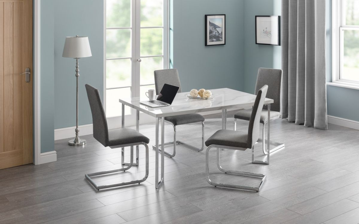 Positano White Marble Dining Table + 4 Chairs Set