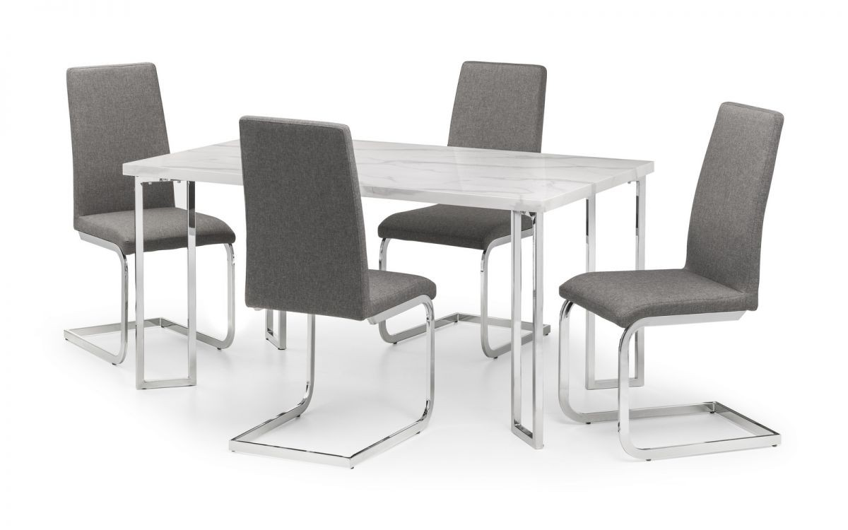 Positano White Marble Dining Table + 6 Chairs Set