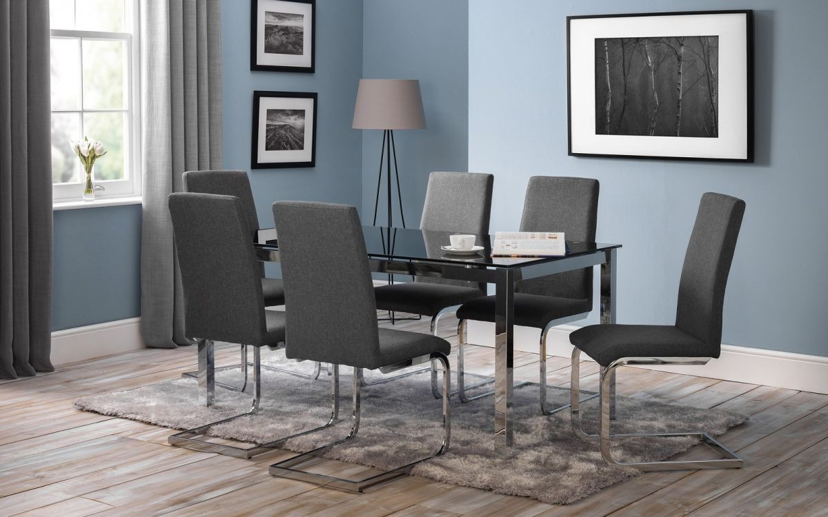 Roma Fabric Cantilever Dining Chair - Slate Grey Linen
