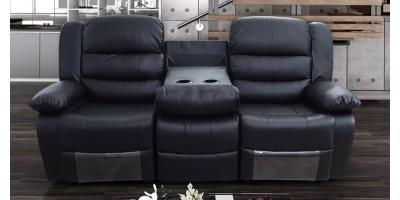 Lazy-B 3 Seater Recliner Black